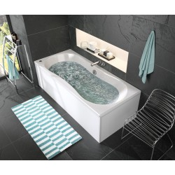Pack baignoire balnéo Puréa 180x80 cm + tablier d'angle autoportant Fix'Alu 180x80 cm - ALLIBERT