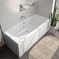 Pack baignoire balnéo Kando + tablier d'angle autoportant Fix'Alu 170 x 75 cm - Essentia - ALLIBERT