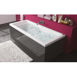 Pack baignoire balnéo Kando + tablier noir autoportant Fix'Alu 170 x 75 cm - Essentia - ALLIBERT